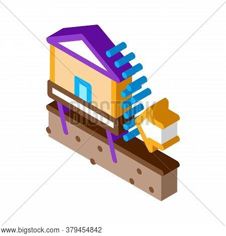 House Demolishes With Wind Icon Vector. Isometric House Demolishes With Wind Sign. Color Isolated Sy