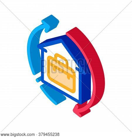 Case In Home With Circle Arrows Icon Vector. Isometric Case In Home With Circle Arrows Sign. Color I