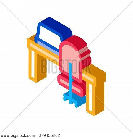 Workplace Table And Chair Icon Vector. Isometric Workplace Table And Chair Sign. Color Isolated Symb