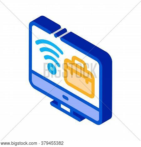 Wifi And Business Case On Computer Screen Icon Vector. Isometric Wifi And Business Case On Computer