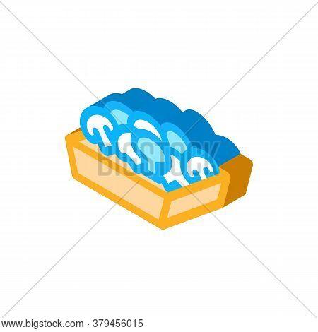Mushroom Container Icon Vector. Isometric Mushroom Container Sign. Color Isolated Symbol Illustratio