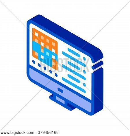Manufacturing Computer Automation Control Icon Vector. Isometric Manufacturing Computer Automation C