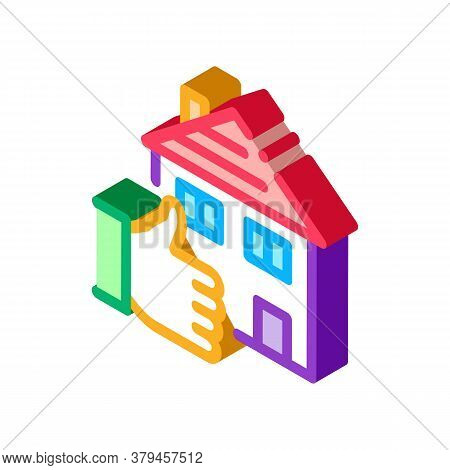 House Hand Gesture Show Like Icon Vector. Isometric House Hand Gesture Show Like Sign. Color Isolate