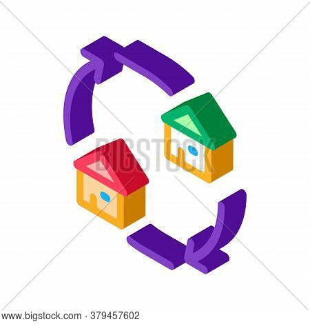 Houses Exchange Icon Vector. Isometric Houses Exchange Sign. Color Isolated Symbol Illustration