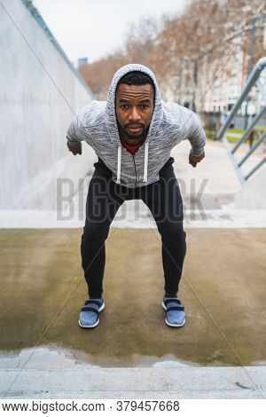 Athletic Man Doing Exercise.
