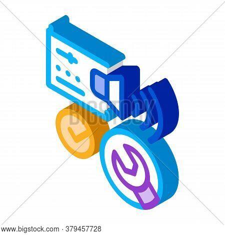 Fixed Radio Sound Icon Vector. Isometric Fixed Radio Sound Sign. Color Isolated Symbol Illustration
