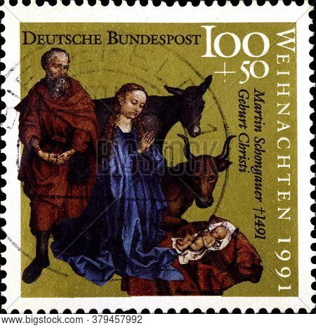 02 09 2020 Divnoe Stavropol Territory Russia The Postage Stamp Germany 1991 Christmas Stamps Works B
