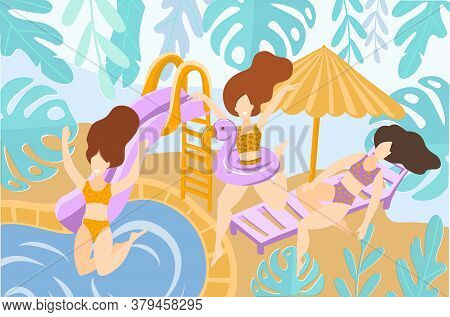 Vector Illustration Three Girls In Bikinis Are Resting And Sunbathing On The Beach. They Jump Into T