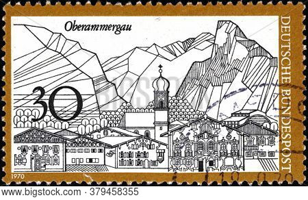 02 11 2020 Divnoe Stavropol Territory Russia The Postage Stamp Germany 1970 Tourism The Town Oberamm