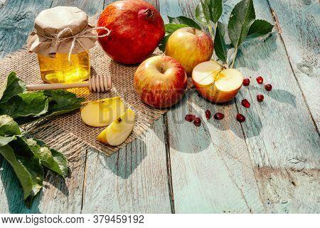 Apple And Honey And Pomegranate, Traditional Food Of Jewish New Year - Rosh Hashana.
