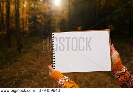 Autumn Mock Up.white Blank Notebook In The Hands Of A Girl On A Yellow Autumn Forest Blurred Backgro