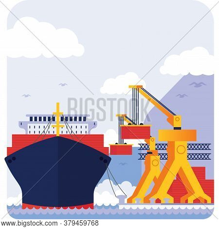 Ship Unloading In Port, Environment Landscape Background