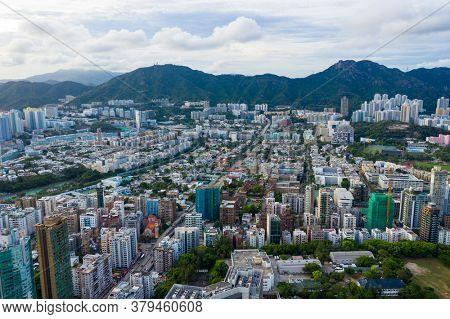 Kowloon Tong, Hong Kong 26 July 2020: Top view of Hong Kong city