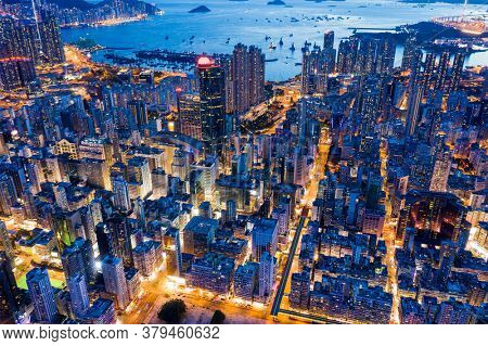 Mong Kok, Hong Kong 26 July 2020: Top view of Hong Kong city at evening