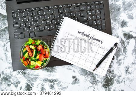 Exercise Plan For A Week. Bowl With Vegetable Salad In The Workplace Near The Computer. Lunch In The