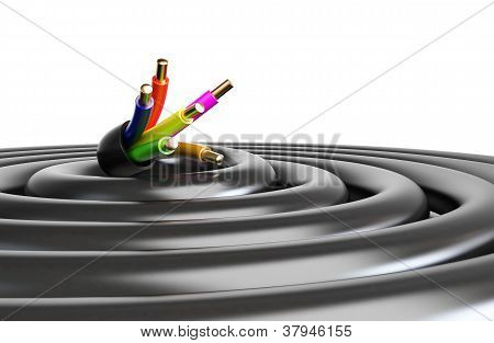Electrical Cable On A White Background