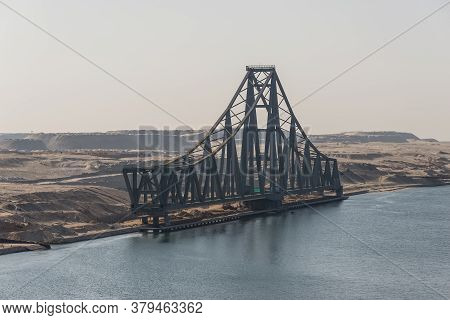 El Ferdan, Egypt - November 14, 2019: Half Of The El Ferdan Bridge. The El Ferdan Railway Bridge Is