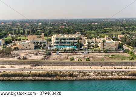 Ismailia, Egypt - November 14, 2019: Sport Support Resort Hotel On The Shore Of The Suez Canal Near