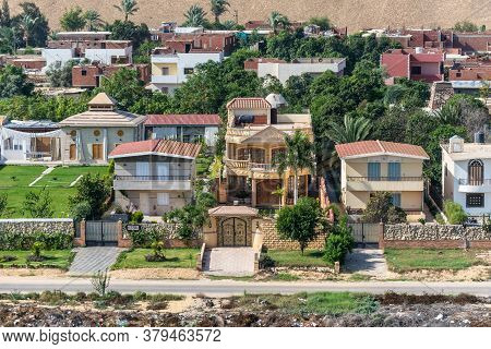 Suez, Egypt - November 14, 2019: Residential Buildings On The Shore Of Suez Canal In Egypt, Africa.
