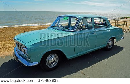 Felixdtowe, Suffolk, England - May 01, 2016: Classic Light Blue Vauxhall Victor Car Parked On Seafro
