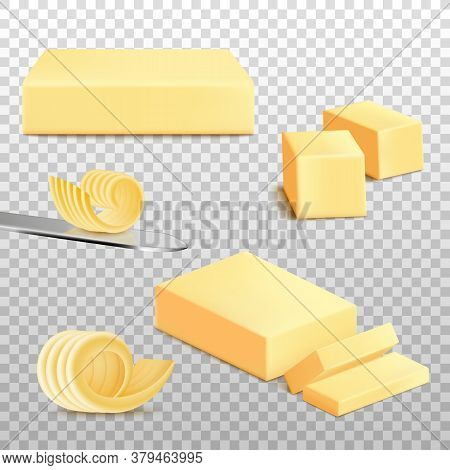 Realistic Whole And Sliced Butter Set Isolated On Transparent Background