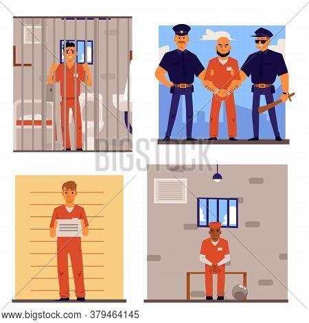 Cartoon Set Of Criminal Men In Prison Uniform In Or Going To Jail