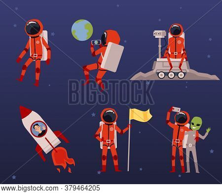 Set With Cosmonaut Characters And Rocket Flat Vector Illustrations Isolated.