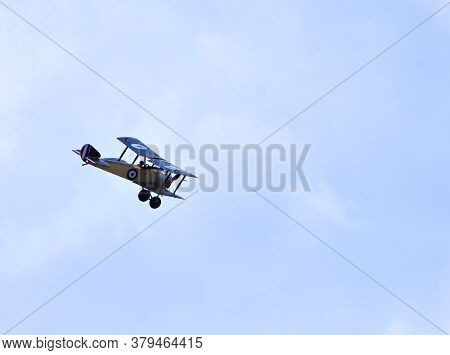 Ickwell, Bedfordshire, England - August 02, 2020: Vintage 1916 Sopwith Pup Aircraft In Flight .