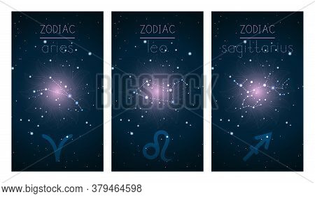 Set Of Three Cards With Signs Of The Zodiac, Astrological Constellations And Abstract Geometric Symb