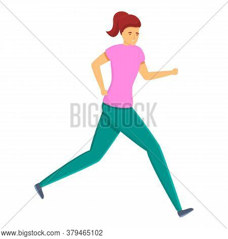 Running Personal Trainer Icon. Cartoon Of Running Personal Trainer Vector Icon For Web Design Isolat