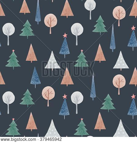 Beautiful Seamless Pattern With Cute Abstract Watercolor Forest Trees. Stock Illustration.