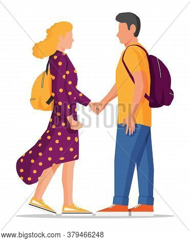 Man And Woman Isolated On White. Spend Time Together. Young Heterosexual Couple In Love. Romance Tog