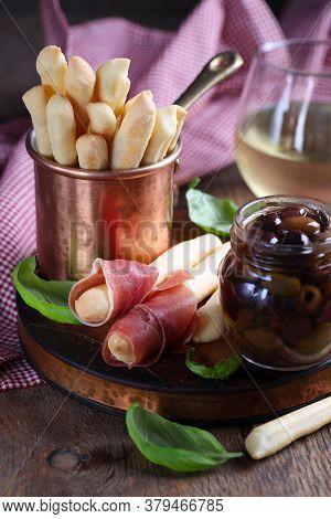 Italian Food Antipasto Snacks Prosciutto Olives Basil