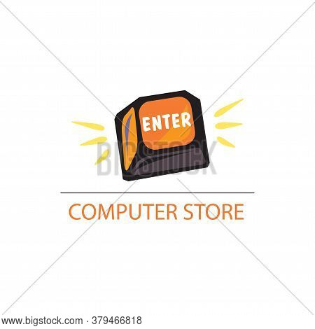 Enter. Vector Computer Key Isolated On A White Background In Eps10