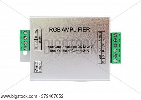 Silver Rgb Led Band Amplifier. Electronic Power Booster For Led Illumination Bands.
