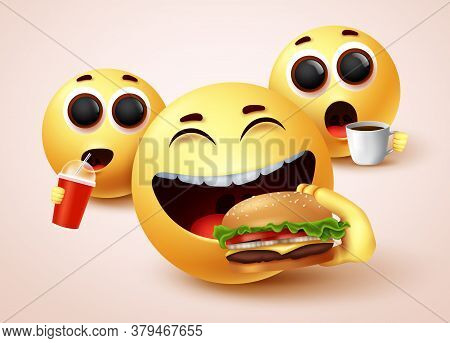 Emoji Eating Fast Food Burger Vector Character Design. Emoticon With Happy Facial Expressions While