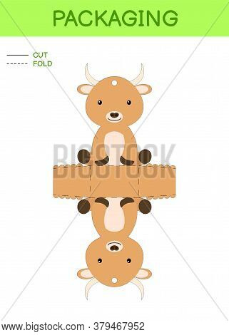 Diy Party Favor Box Die Cut Template Design For Birthdays, Baby Showers With Cute Yak For Sweets, Ca