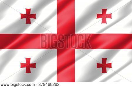 Silk Wavy Flag Of Georgia Graphic. Wavy Georgian Flag 3d Illustration. Rippled Georgia Country Flag