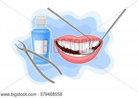 Open Mouth With Dental Tools And Bottle Of Oral Rinse Or Mouthwash For Oral Hygiene Vector Compositi