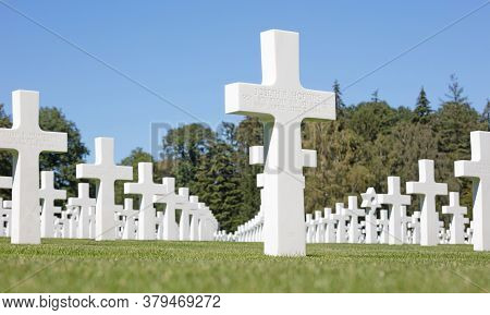 Luxembourg, Luxembourg On July 21, 2020; Graves In The American Mlitary Cemetary In Luxembourg