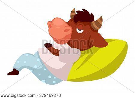 Sleepy Buffalo Laying On Pillow, Tired Or Lazy Animal