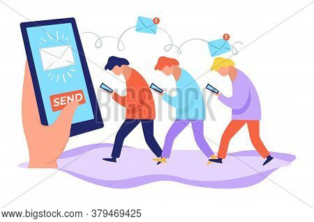 Sending Newsletter For Customers And Followers, People With Phones