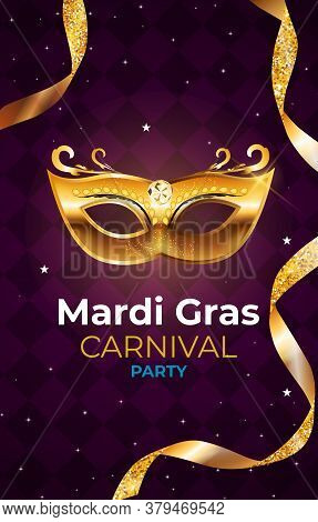 Colored Mardi Gras Carnival Party Background. Illustration