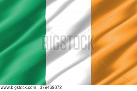 Silk Wavy Flag Of Ireland Graphic. Wavy Irish Flag 3d Illustration. Rippled Ireland Country Flag Is