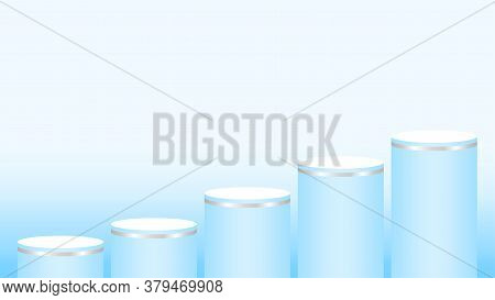 Pedestal Cylinder Circle 5 Steps For Cosmetics Showcase, Podium Circle Stage Light Blue Pastel Soft