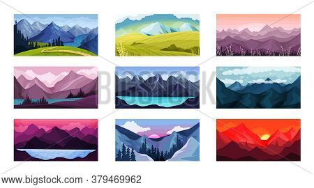 Mountain Landscape With Peaks And Rocky Hills Vector Illustration Set