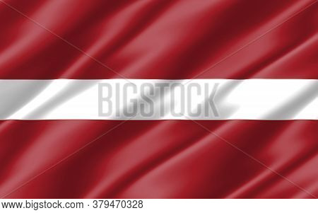 Silk Wavy Flag Of Latvia Graphic. Wavy Latvian Flag 3d Illustration. Rippled Latvia Country Flag Is