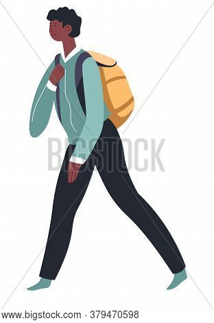 School Boy With Satchel Walking, Pupil With Bag