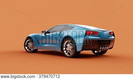 Back View Of A Blue Sport Concept Car On Orange Background. 3d Illustration And 3d Render Of Modern