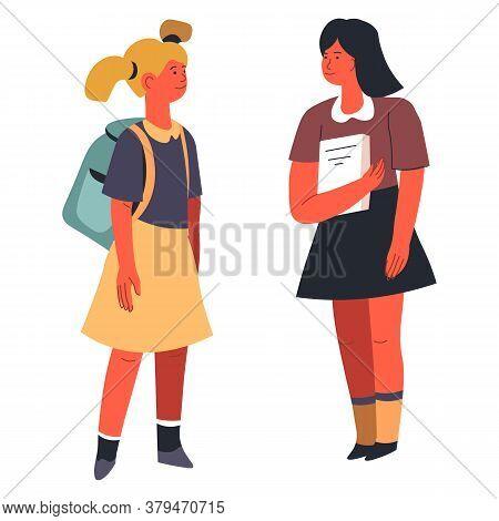 School Girls Having Chat, Talking Classmates Friends Vector
